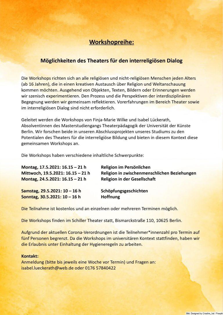 Teilnehmer*innen für interreligiösen Theaterworkshop gesucht!